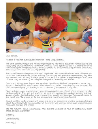 Thang Long Academy newsletter aug9